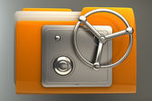 Folder icon with security lock dial — Stock Photo