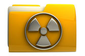 Yellow folder Radiation Alert sign icon — Stock Photo