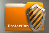Documents folder protected by shield — Stock Photo
