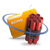 Yellow folder with Explosive — Stock Photo