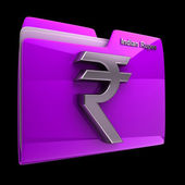 Folder with indian rupee symbol — Stock Photo