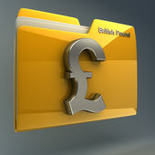 Folder with british pound symbol — Stock Photo