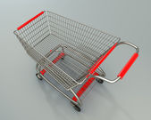 Prázdný nákupní vozík s vysokým rozlišením 3d vykreslení — Stock fotografie