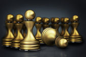 Abstract background golden chess pawn 3d illustration — Stock Photo