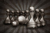 Vintage chess pawn abstract background 3d illustration — Stock Photo