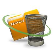 Yellow folder with Empty recycle bin Icon — Stock Photo