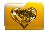 Yellow folder with Mechanical heart Icon — Stock Photo