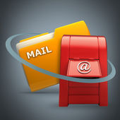 Yellow folder with Postbox Icon — Stock Photo