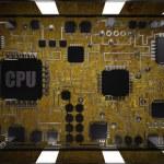 Desktop screen and CPU inside — Stock Photo