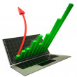 Stock Photo: 3d laptop with graph and red arrow