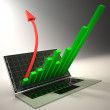 3d laptop with graph and red arrow - Stockfoto