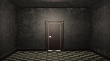 Door opening and illuminating a dark room — Stock Video