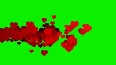 Flying red valentines hearts — Stock Video