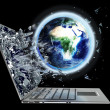 Globe exit by laptop screen isolated  — Stock Photo