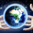 Planet earth on hands. Concept — Stock Photo