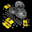 Disassembled brake discs with yellow calliper from racing cars — Zdjęcie stockowe