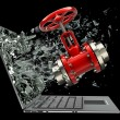 Red valve exit by a monitor of laptop — Stock Photo