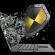 Shield exit by a monitor of laptop screen — Stock Photo #32129019