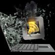 Tick symbol flaming icon exit by a monitor of laptop screen — Stock Photo #32129021