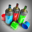 Color spray cans — Stock Photo