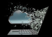 Cloud capsule exit by a monitor of laptop screen isolated — Stock Photo