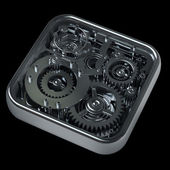 3D gears box isolated on black — Stock Photo