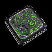 3D gears box with green backlight isolated on black — Stock Photo