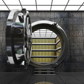 Big safe door with Gold ingots. — Stock Photo