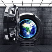 Big safe door with Earth showing Europe and Africa. — Stock Photo