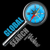 Global search magnifying glass isolated on black background — Stock Photo