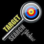 Target magnifying glass isolated on black background. Concept — Stock Photo