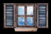 Old grunge wooden window frame — Stock Photo