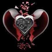 Rojo corazón roto — Foto de Stock