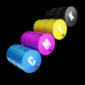 CMYK concept fuel barrel — Stock Photo