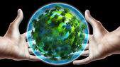 Hands holding glowing earth globe — Stock Photo
