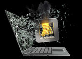 Tick symbol flaming icon exit by a monitor of laptop screen — Stock Photo