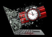 Bomb exit by a monitor of laptop — Stock Photo