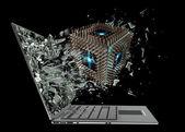 Computer-mikrochip-cpu-ausfahrt von einem laptop-bildschirm-monitor — Stockfoto