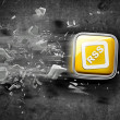 APPS icon breaks glass — Stock Photo