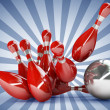 3d Bowling Ball crashing into the pins. — Stock Photo #32130757