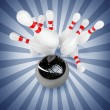 3d Bowling Ball crashing into the pins. — Stock Photo #32130759