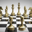 Golden chess pawns background — Stock Photo