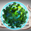 Hands holding a glowing earth globe — Stock Photo