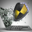 Shield exit by a monitor of laptop screen — Stock Photo #32134659