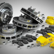 Disassembled Brake Disc with yellow Calliper from Racing Car — Stock Photo #32138855