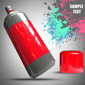 Spray can and Paint splat — Stockfoto