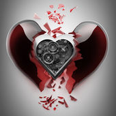 Red broken heart with Mechanical heart inside — Foto de Stock
