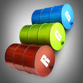 RGB Concept FUEL barrel — Stock Photo