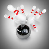 3d Bowling Ball crashing into the pins — Stock Photo