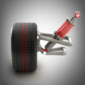 Wheel, shock absorber and brake pads — Stock Photo